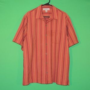Tommy Bahama Mens M Silk Striped Short Slv Shirt
